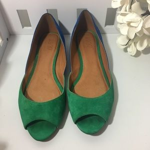 Madewell 1937 green & blue Leather flats size 9.5